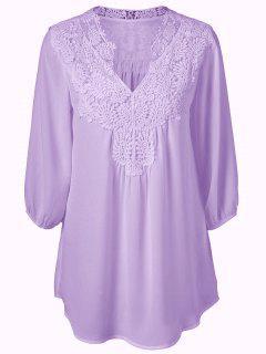 Plus Size Crochet Trim Tunic Top - Purple 2xl