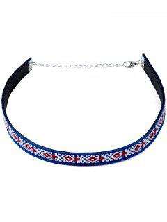 Embroidery Choker Necklace - Blue