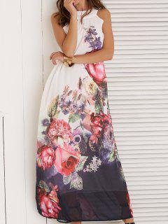 Floral Print Sleeveless Round Neck Maxi Dress - White S