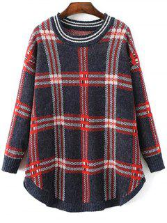 Checked Rounded Hem Sweater