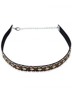 Flower Embroidery Choker Necklace - Coffee