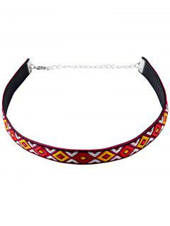 Embroidery Square Choker Necklace - Red