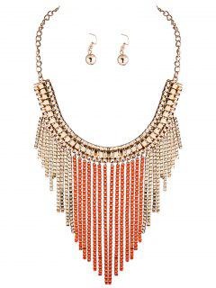 Box Chain Necklace And Earrings - Orange