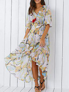 Printed V Neck High Low Chiffon Maxi Dress - 2xl