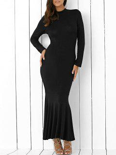Back Cutout Long Sleeve Mermaid Maxi Dress - Black L
