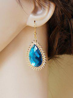 Teardrop Faux Sapphire Earrings - Blue