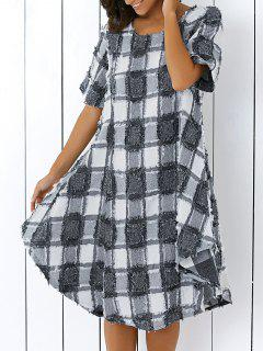 Round Neck Half Sleeve Checked Fringed Dress - Checked L