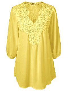 Blouse Tunique En Crochet Superposition Oversize  - Jaune Xl