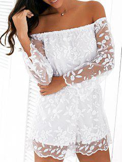 Organza Off The Shoulder Floral Broderie Romper - Blanc M