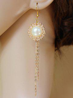 Faux Pearl Chain Fringe Earrings - Golden