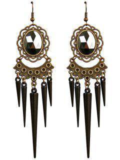 Fake Crystal Cone Fringe Earrings - Black