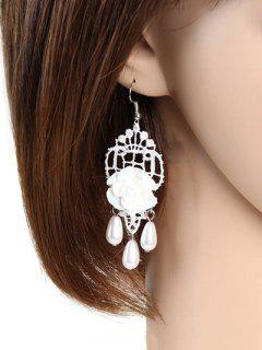 Rose Faux Pearl Lace Earrings - White