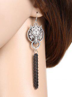 Wolf Head Fringe Earrings - Silver