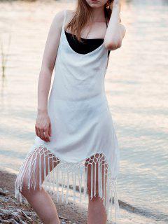 Tassel Embellished Asymmetrical Chiffon Dress - Off-white Xl