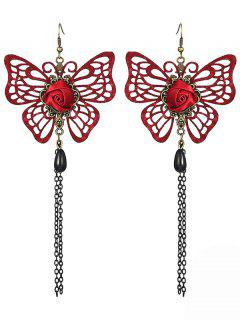 Hollowed Butterfly Rose Earrings - Red