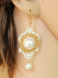 Lace Faux Pearl Earrings - White