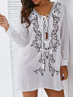 Plunging Neck Lace Up Embroidered Cover-Up - White