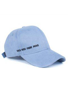 Letter Embroidery Faux Suede Baseball Hat - Azure