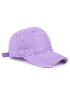 Letter Embroidery Faux Suede Baseball Hat - Light Purple