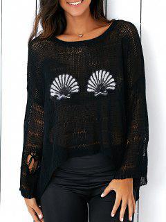 Paillettes Ripped Sweater - Noir