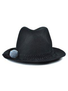 Pompon Tassel Belt Felt Jazz Hat - Black