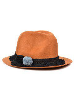 Pompon Tassel Belt Felt Jazz Hat - Light Coffee