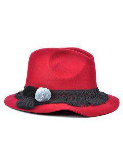 Pompon Tassel Belt Felt Jazz Hat - Wine Red
