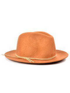 Britain Style Bowknot Felt Jazz Hat - Camel