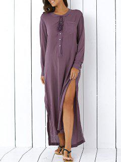High Low Hem Manches Longues Side Slit Robe Chemise - Pourpre  S