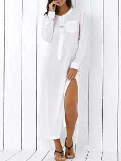 High Low Hem Long Sleeve Side Slit Shirt Dress - White S