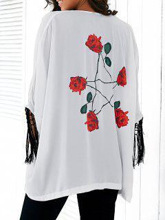 Rose Print Tassels Kimono Blouse - White S
