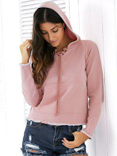 Light Pink Raglan Sleeve Lace Up Hoodie - Rose Nu S