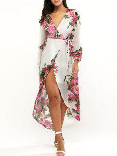 Floral Print Plongeant Neck Wrap Maxi Dress - Blanc S
