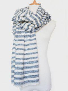 Stripe Fringed Edge Scarf - Blue