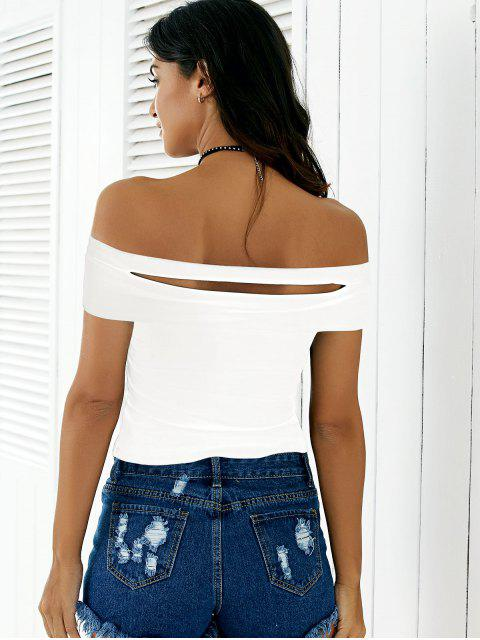 women's Black Cutout Off The Shoulder Cropped T-Shirt - WHITE ONE SIZE Mobile