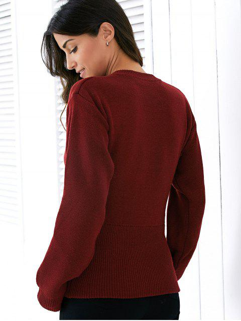 new Round Neck Solid Color Lace Up Sweater - WINE RED ONE SIZE Mobile
