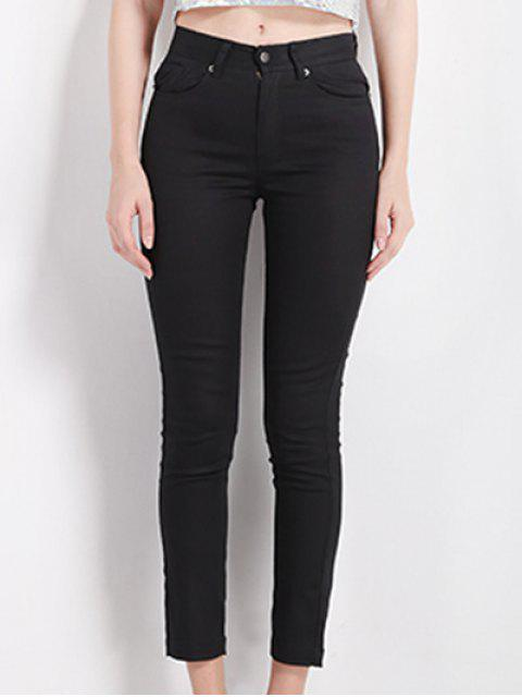 trendy Slimming High Waist Black Pencil Pants - BLACK S Mobile