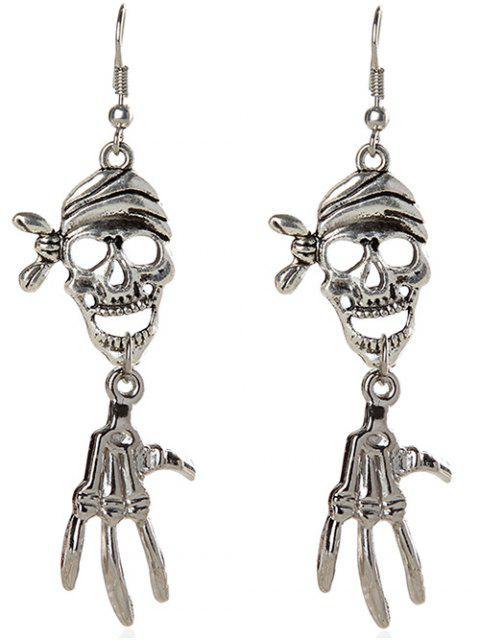 Pendientes del cráneo del pirata de Halloween - Plata  Mobile