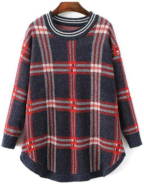 lady Checked Rounded Hem Sweater - COLORMIX ONE SIZE Mobile