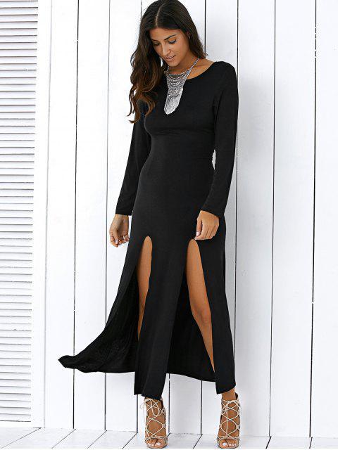 outfit High Slit Long Sleeve Black Maxi Dress - BLACK L Mobile