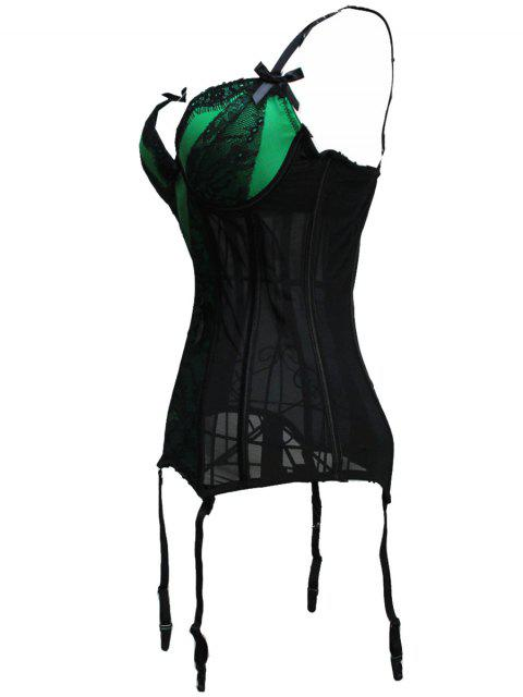 trendy Bowknot Spaghetti Strap Lace Corset - GREEN S Mobile