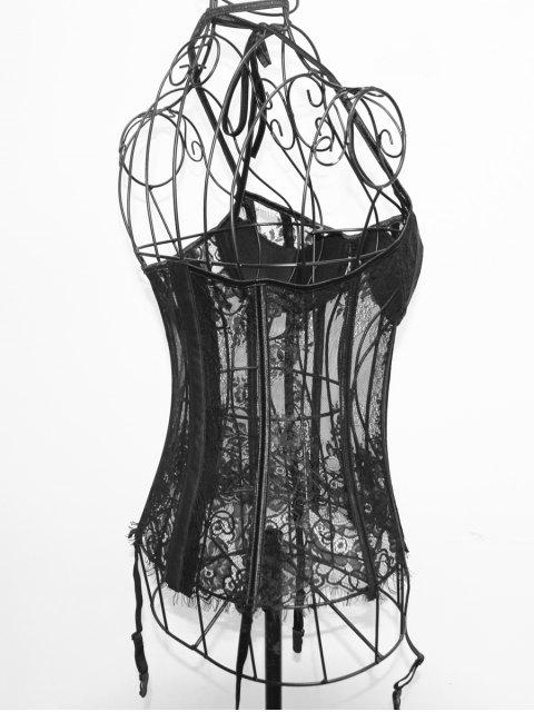 trendy Halter Neck Laciness See Through Corset - BLACK S Mobile