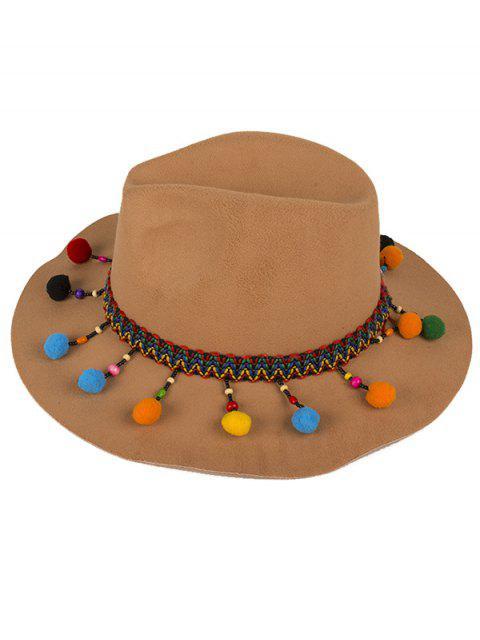 outfits Pompon Pendant Ethnic Felt Jazz Hat - CAMEL  Mobile