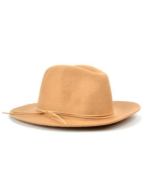 women's Britain Style Bowknot Felt Jazz Hat - KHAKI  Mobile