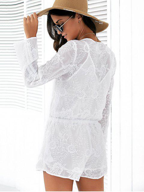 combinaison à col plogeant à manches 3/4 surplis en mousseline et en broderie pour femmes - Blanc L Mobile