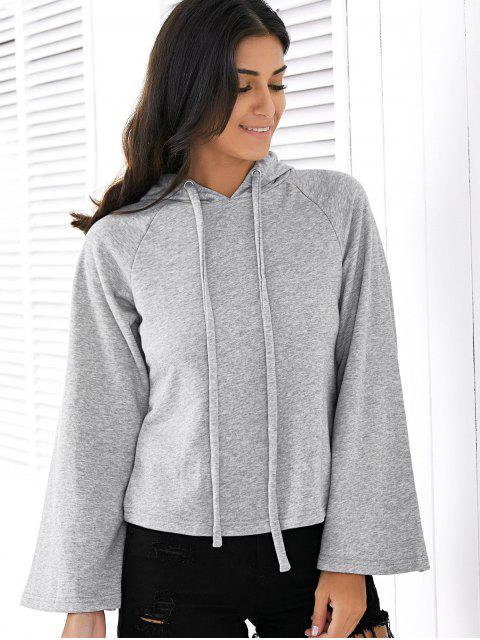 Sweatshirt à capuche couleur unie long Raglan - gris 2XL Mobile
