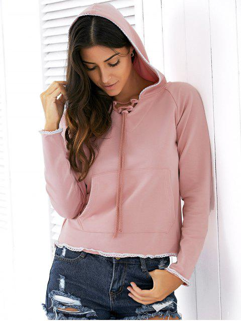 best Light Pink Raglan Sleeve Lace Up Hoodie - NUDE PINK S Mobile