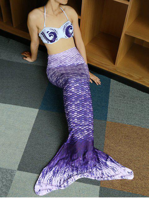 ladies Halter Bikini Mermaid Tail Swimsuit - PURPLE M Mobile