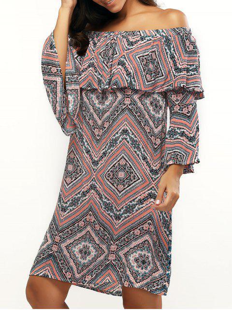 Impreso con el vestido de las colmenas del hombro empalmado - Colores Mezclados XL Mobile