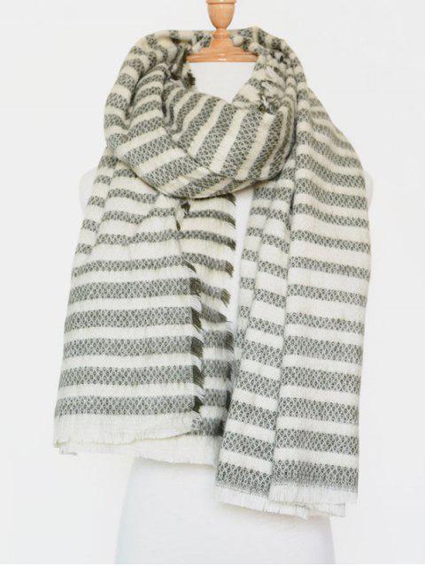 fashion Stripe Fringed Edge Scarf - GREEN  Mobile